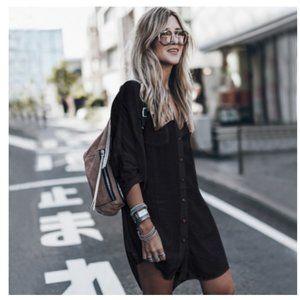 Boho Black Button up High Low Midi Dress